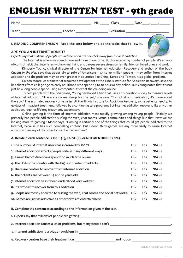 the internet test 9th grade a2b1 tests 1