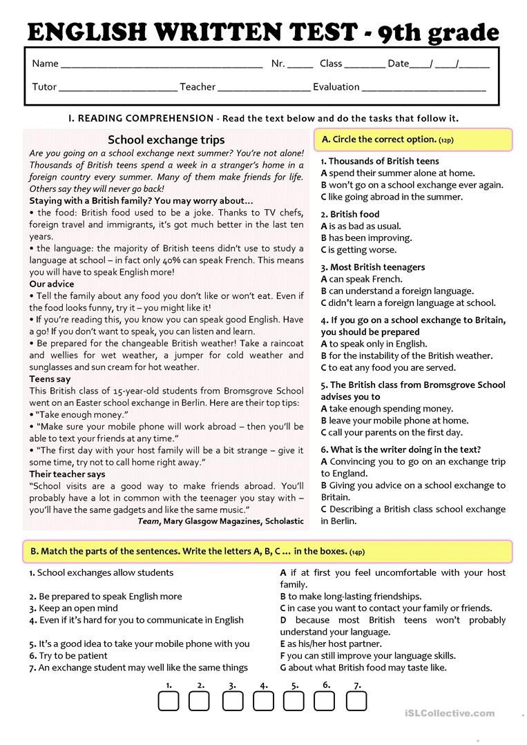 9th Grade Reading Comprehension Worksheet Exchange Programmes Test A2 B1 9th Grade Version B