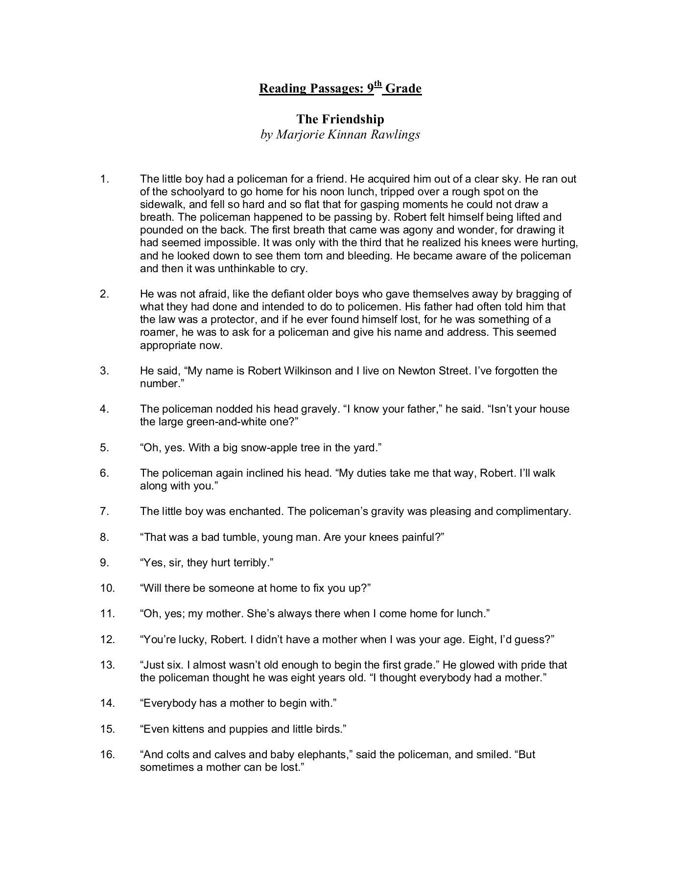 9th Grade Reading Comprehension Worksheet Reading Passages 9th Grade Dallas County Schools
