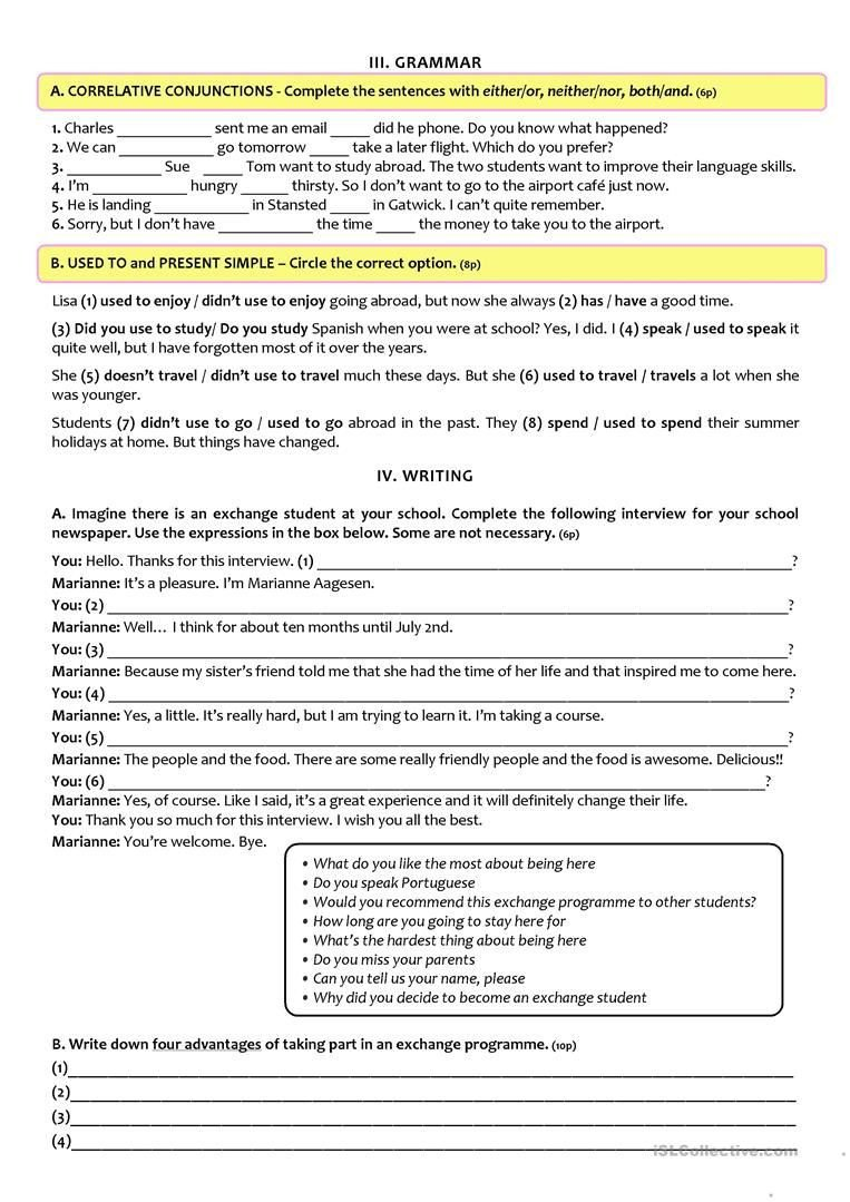 9th Grade Reading Worksheets Exchange Programmes Test A2 B1 9th Grade Version B