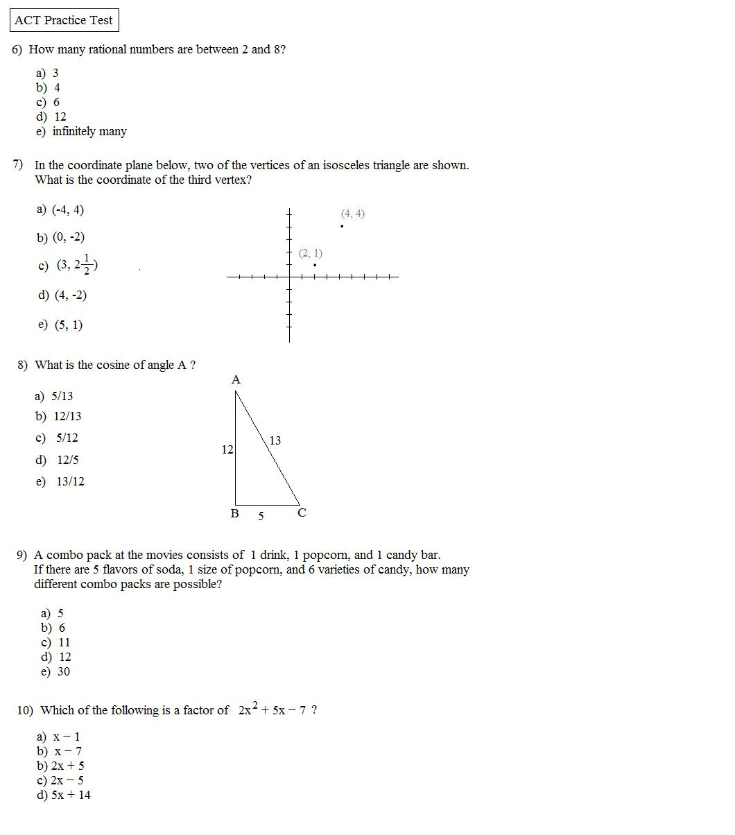 Act Prep Worksheets English Act Math Practice Test Pdf