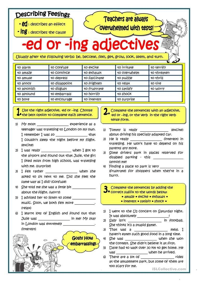Adding Ed and Ing Worksheets Adjectives Ending In Ed or Ing English Esl Worksheets
