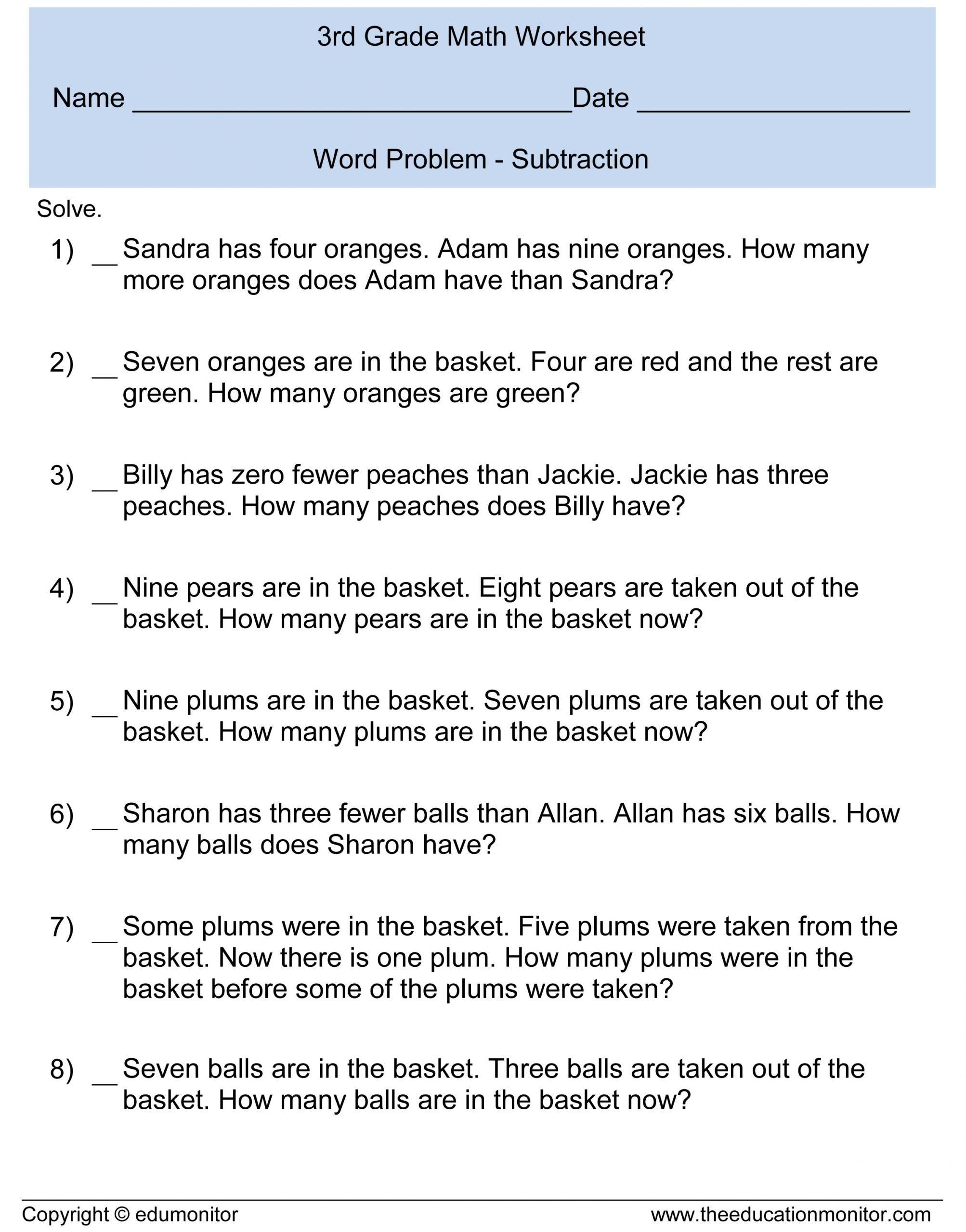Adding Zero Worksheets Subtraction Word Problems for Kids