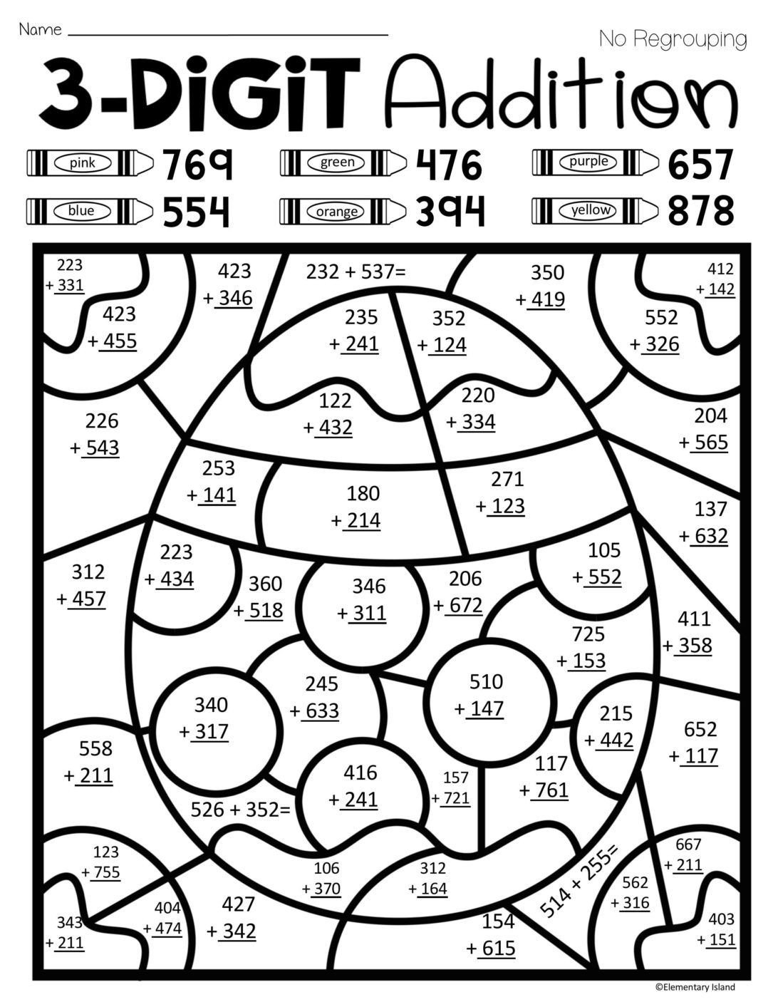 Addition Math Coloring Worksheets Coloring Pages Easter Spring Three Digit Addition Color by