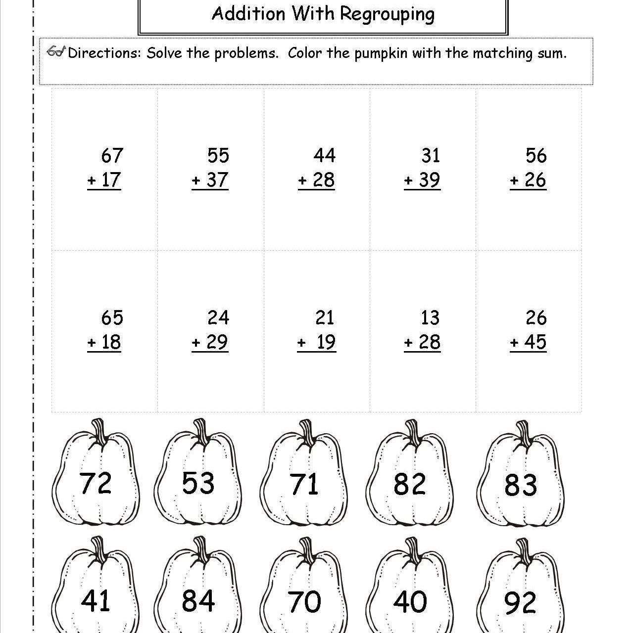 Addition with Regrouping Coloring Worksheets Worksheet Fun Coloringtion Worksheets for Kids 1st Grade