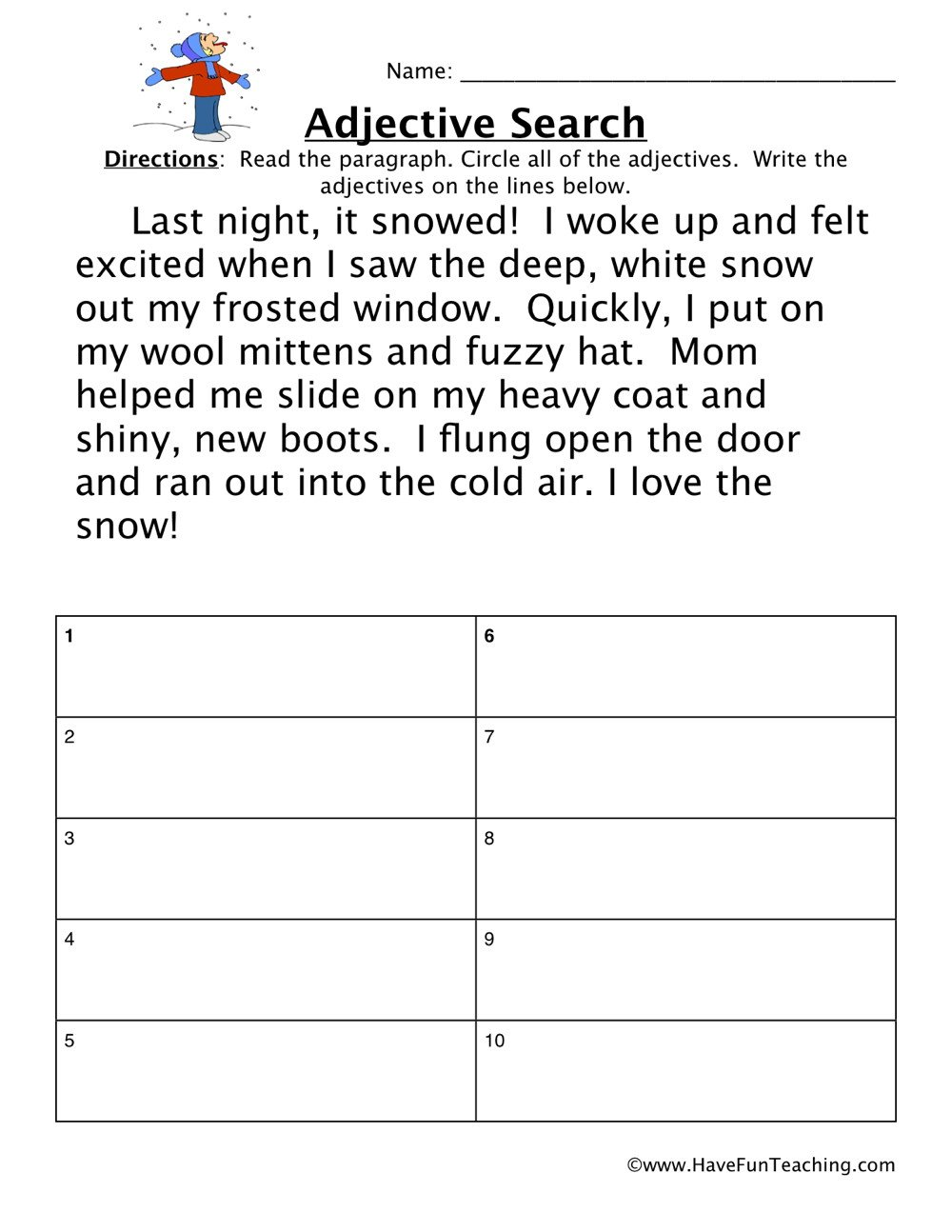 Adjective Worksheets 2nd Grade Adjectives Snow Story Worksheet