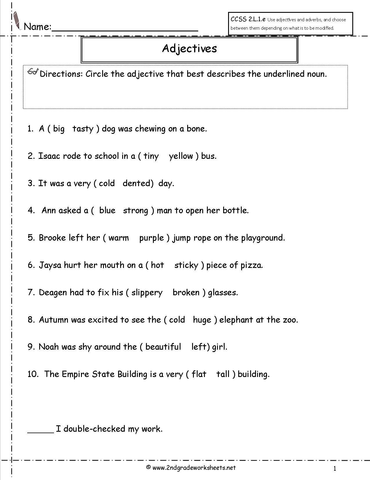 Adjective Worksheets 2nd Grade Free Using Adjectives and Adverbs Worksheets