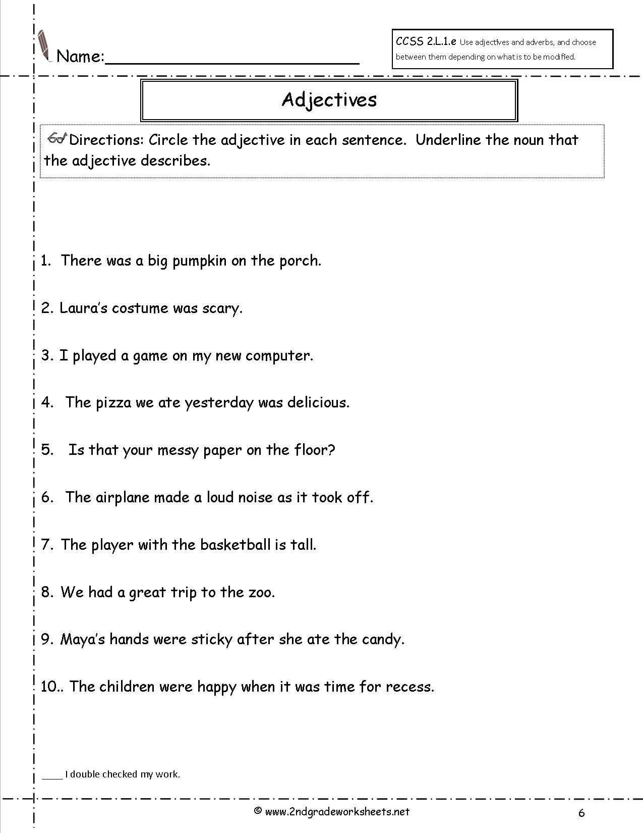 Adjective Worksheets 2nd Grade Free Using Adjectives Worksheets