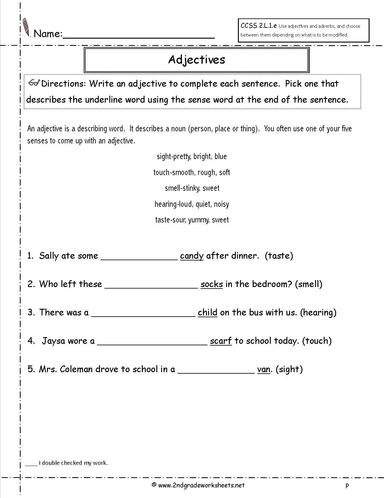 Adjective Worksheets 2nd Grade Geometry Practice Problems My School Printable Worksheets