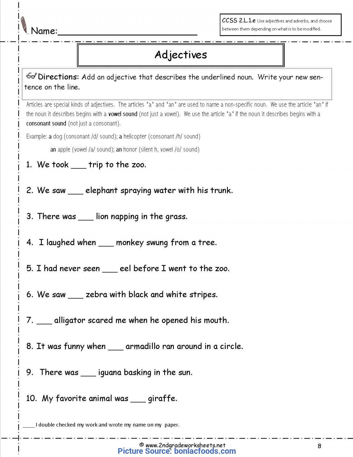 Adjective Worksheets 2nd Grade Valuable 2nd Grade Lesson Plans Adjectives Worksheets for