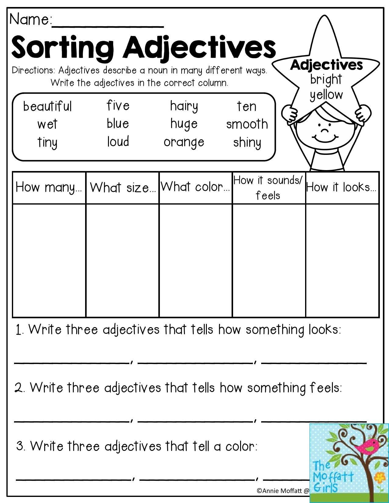 Adjectives Worksheets 3rd Grade sorting Adjectives Adjectives Describe A Noun In Many