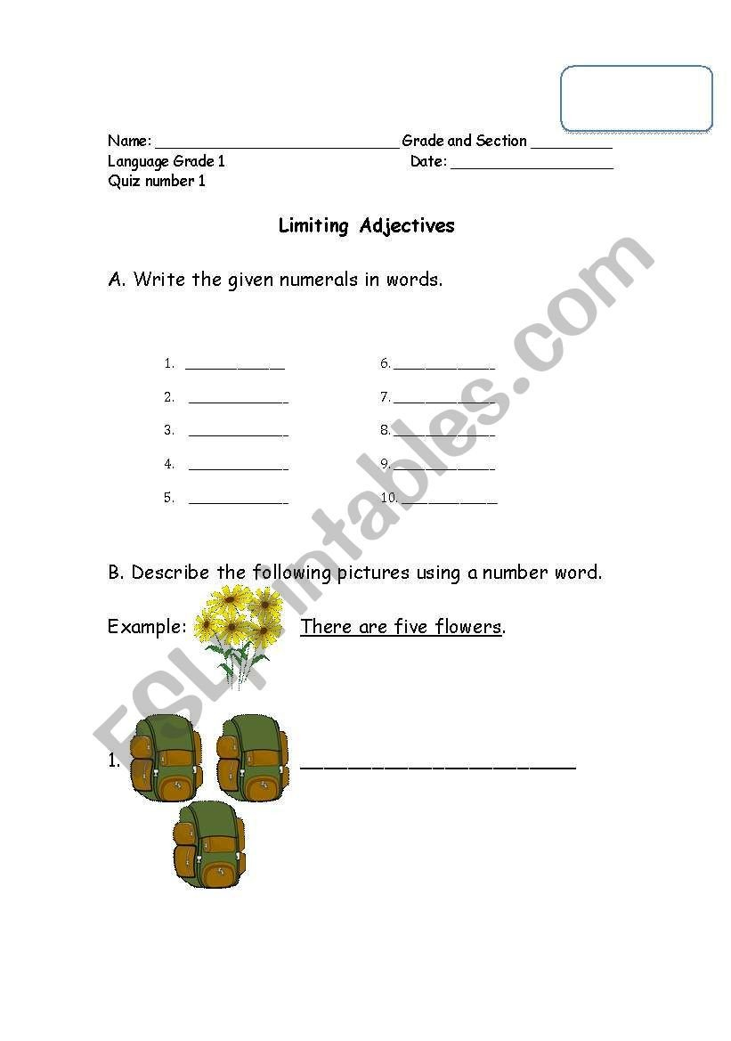 Adjectives Worksheets for Grade 1 English Worksheets Limiting Adjectives Cardinal and ordinals