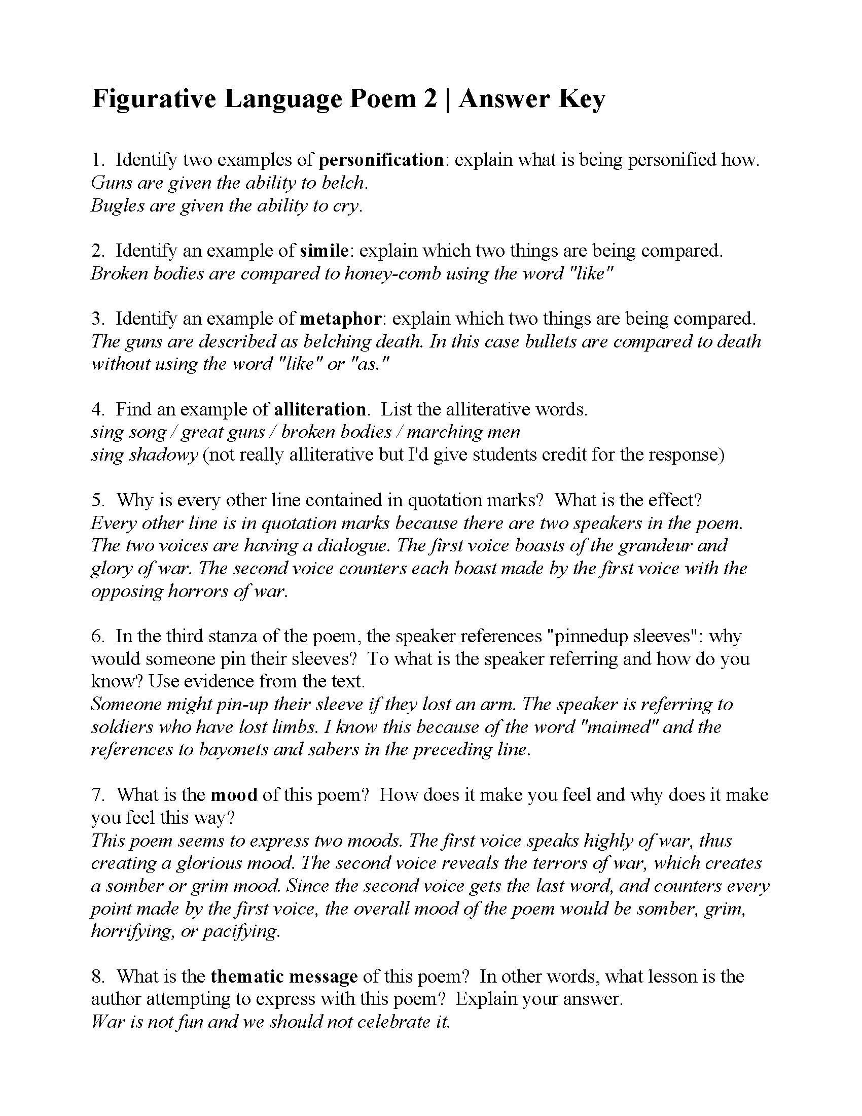 Alliteration Worksheets for Middle School Omatopoeia Poems Ks2