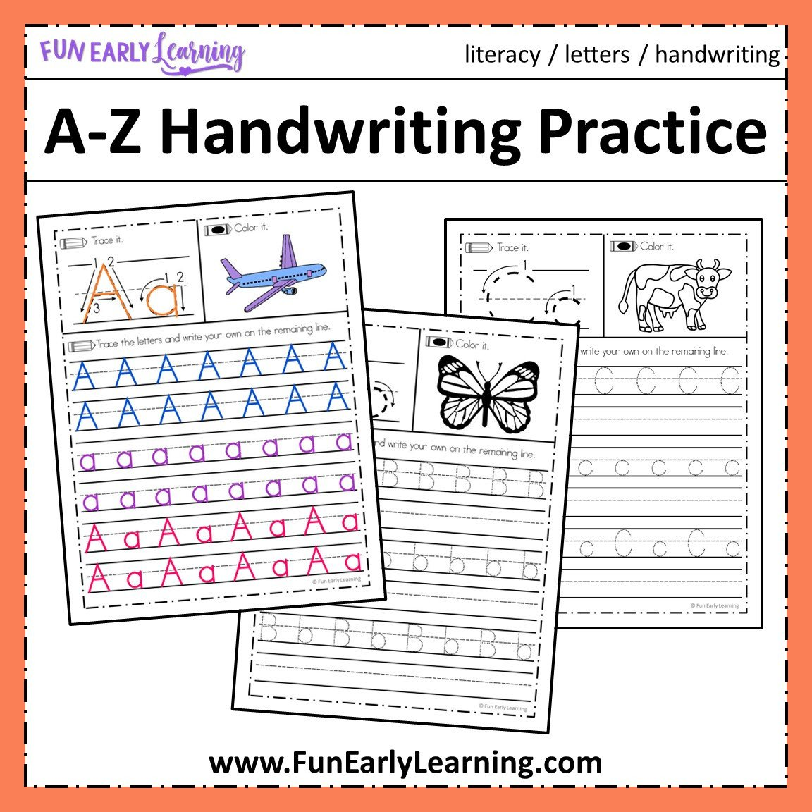 Alphabet Tracing Worksheets Az Pdf A Z Handwriting Practice No Prep Worksheets for Learning Letters