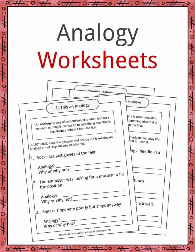 Analogy Worksheets for Middle School Analogy Examples Definition and Worksheets