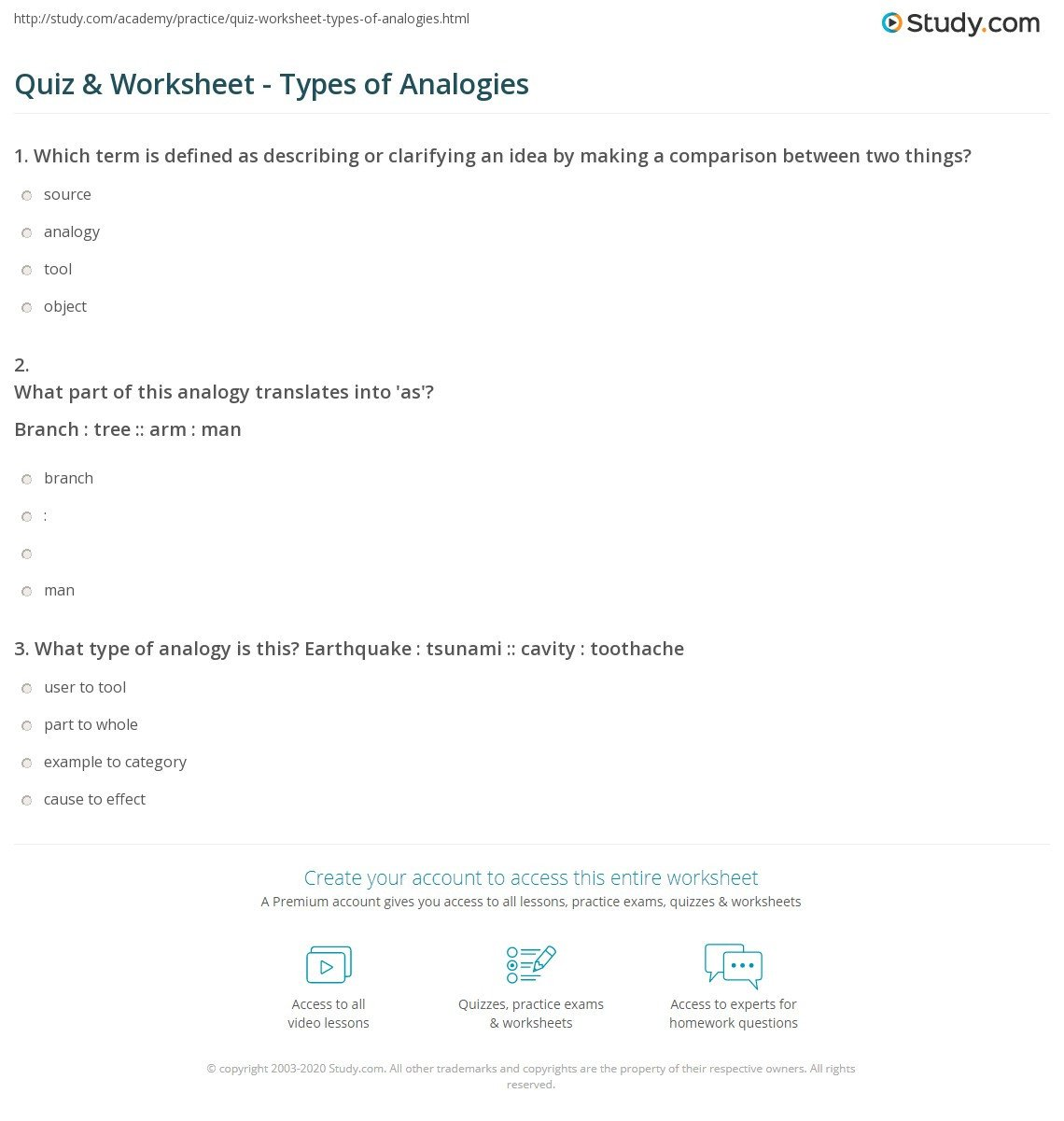 quiz worksheet types of analogies