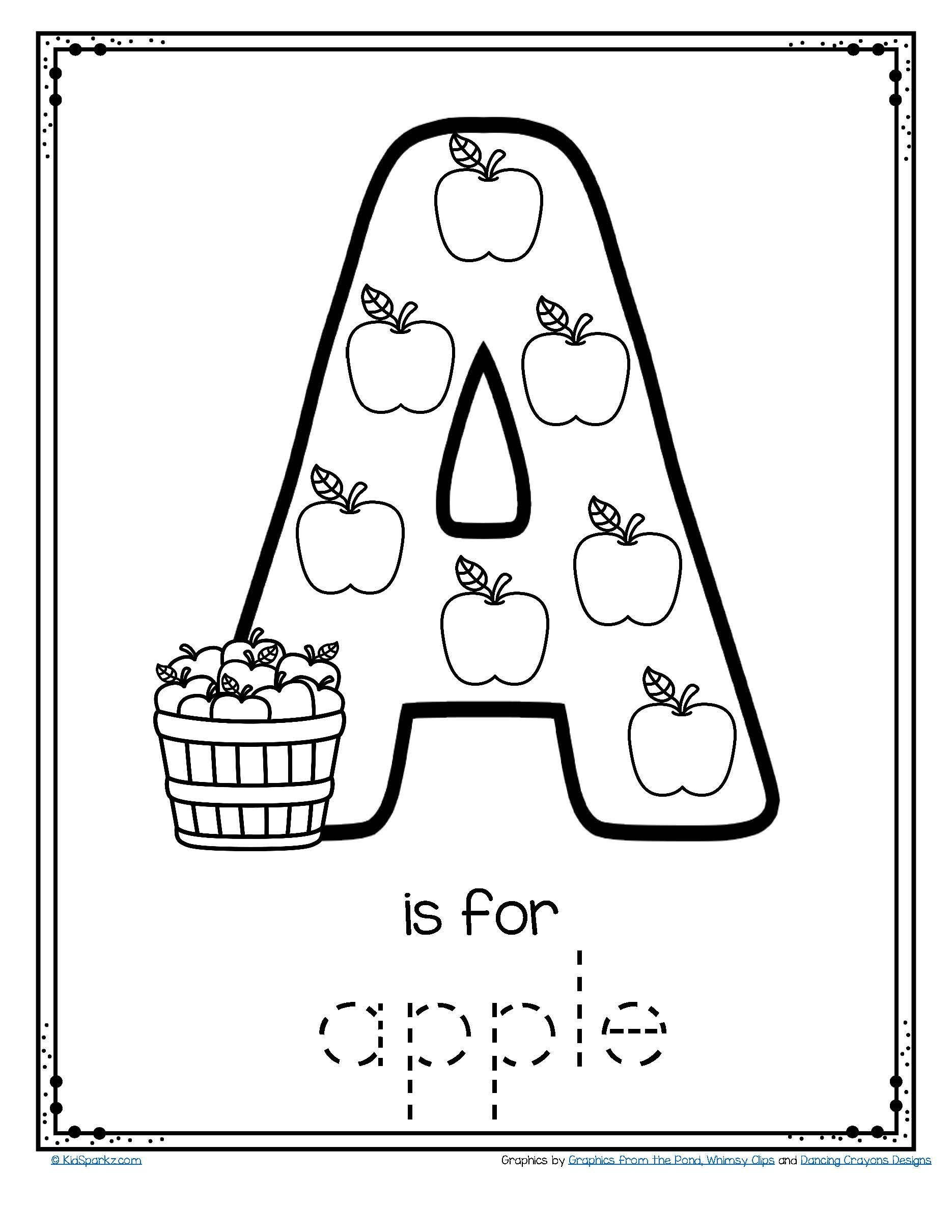 Apple Worksheets Preschool Free A is for Apple Alphabet Trace and Color Printable