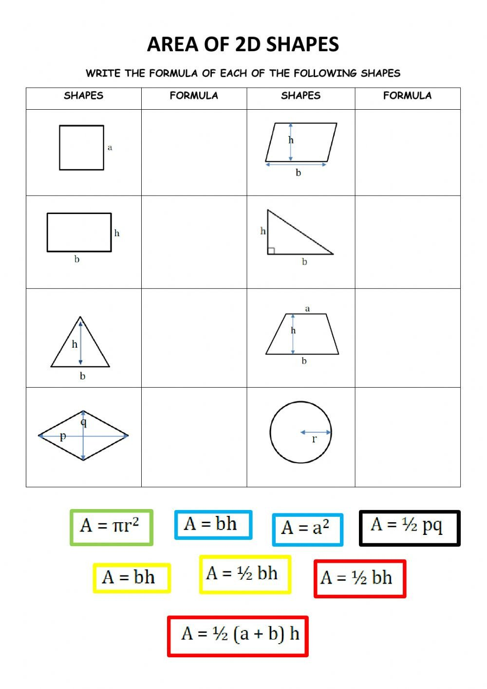 Area Of Compound Shapes Worksheet area Of 2d Shapes Interactive Worksheet