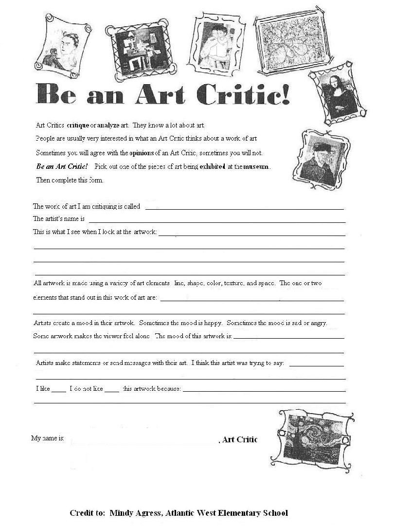 Art Worksheets Middle School Be An Art Critique