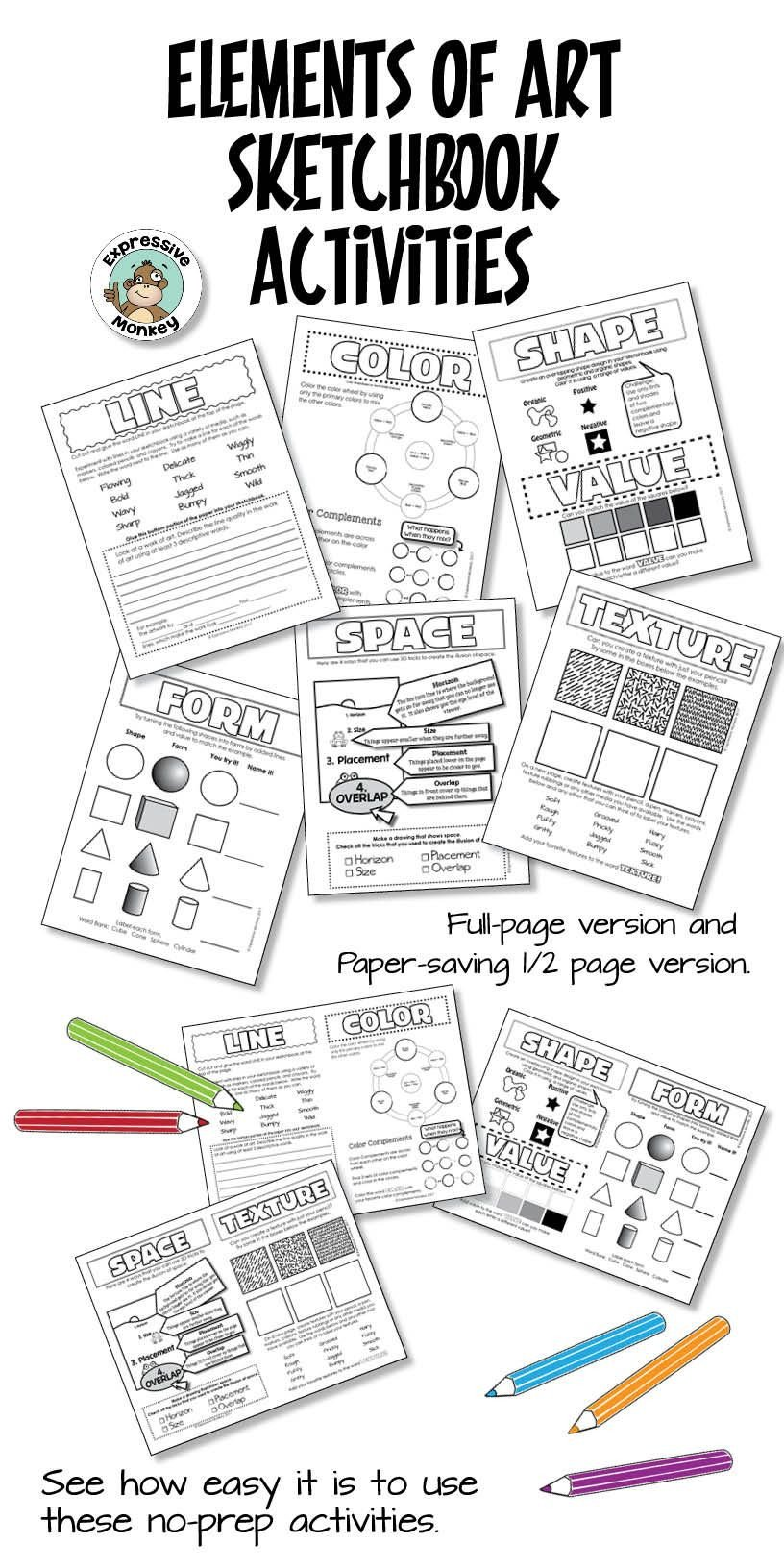 Art Worksheets Middle School Elements Of Art Worksheets for Sketchbook Activities