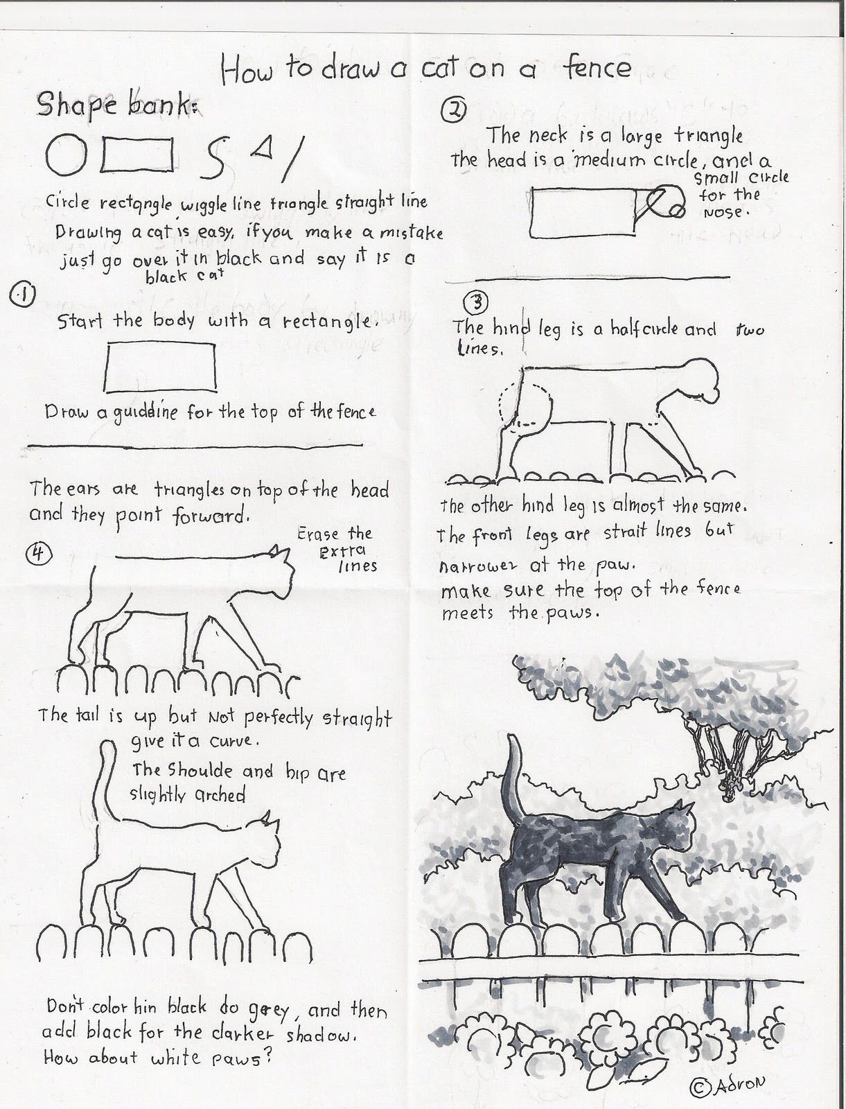 Art Worksheets Middle School to Draw Black Cat Fence Art Worksheets Drawings Moon