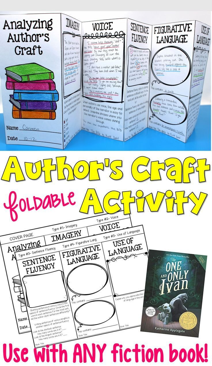 Author Craft Worksheets Author S Craft Foldable Activity