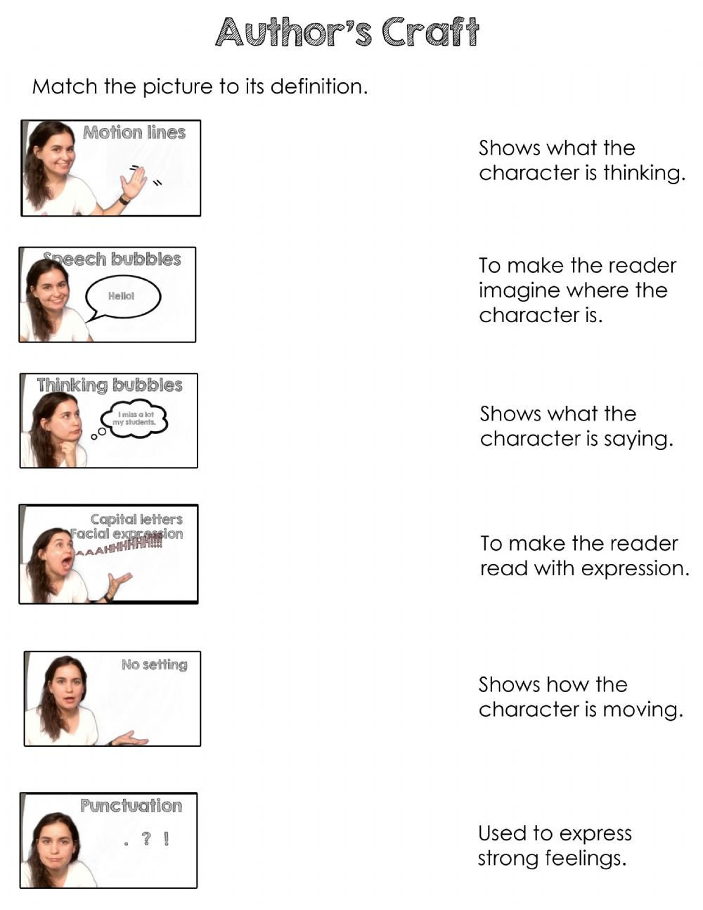 Author Craft Worksheets Author S Craft Interactive Worksheet