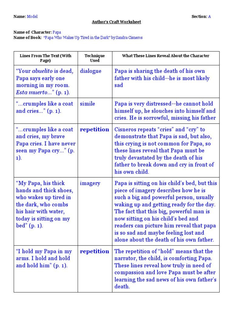 Author Craft Worksheets Author S Craft Model Worksheet