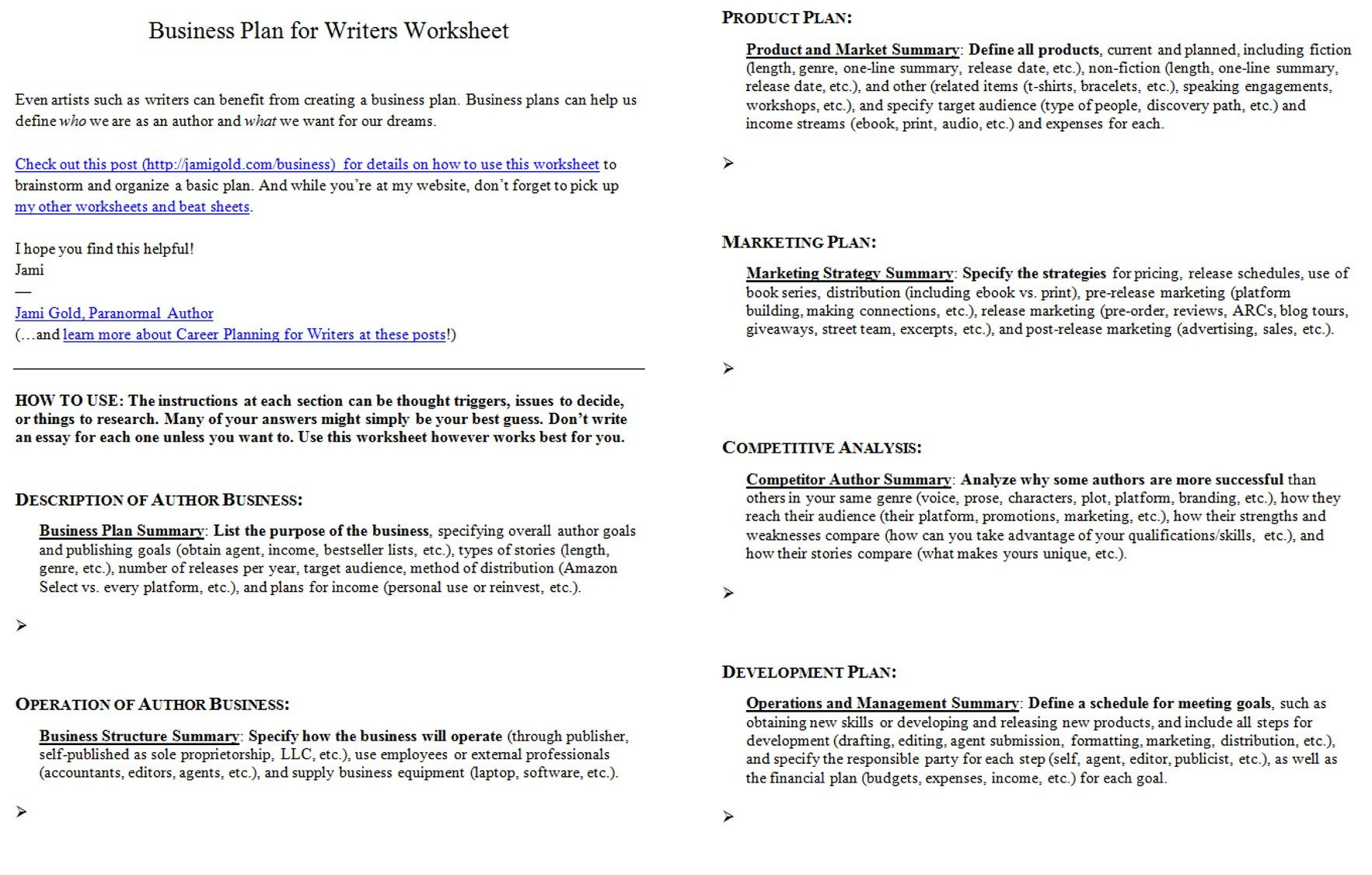 Author Craft Worksheets Worksheets for Writers