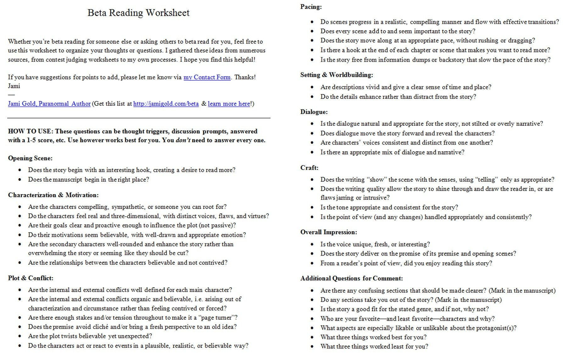 Beta reading worksheet A and B
