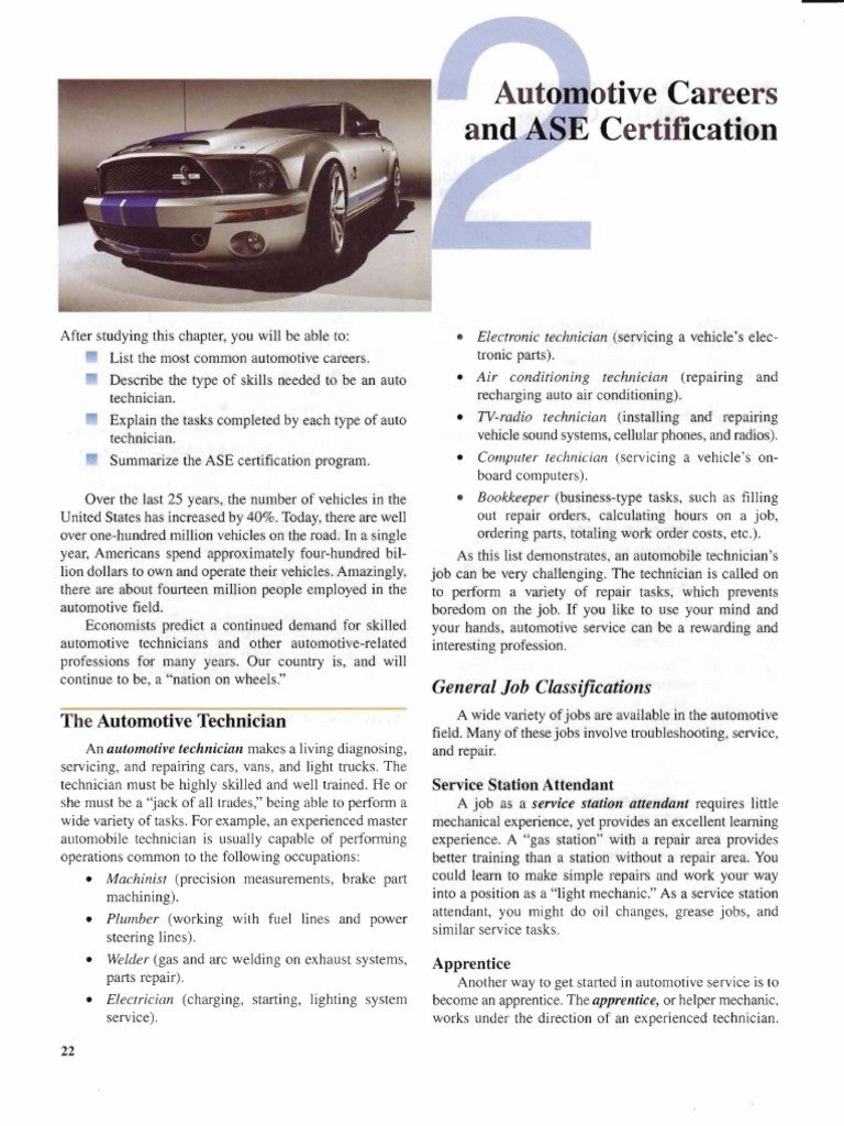 Chapter 2 Automotive Careers Ase Certification