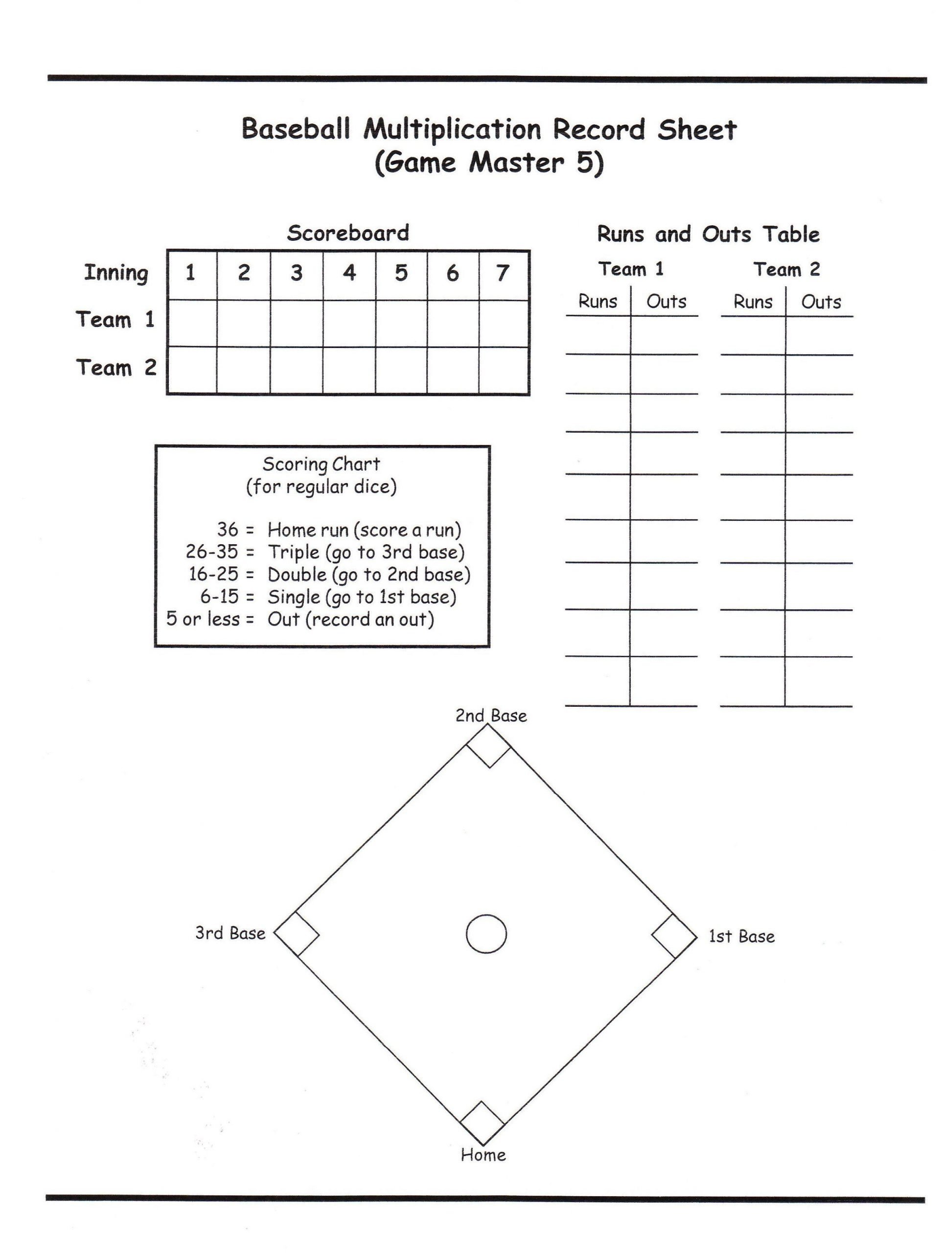 Baseball Math Worksheets Baseball Dice Game Score Sheet Google Search