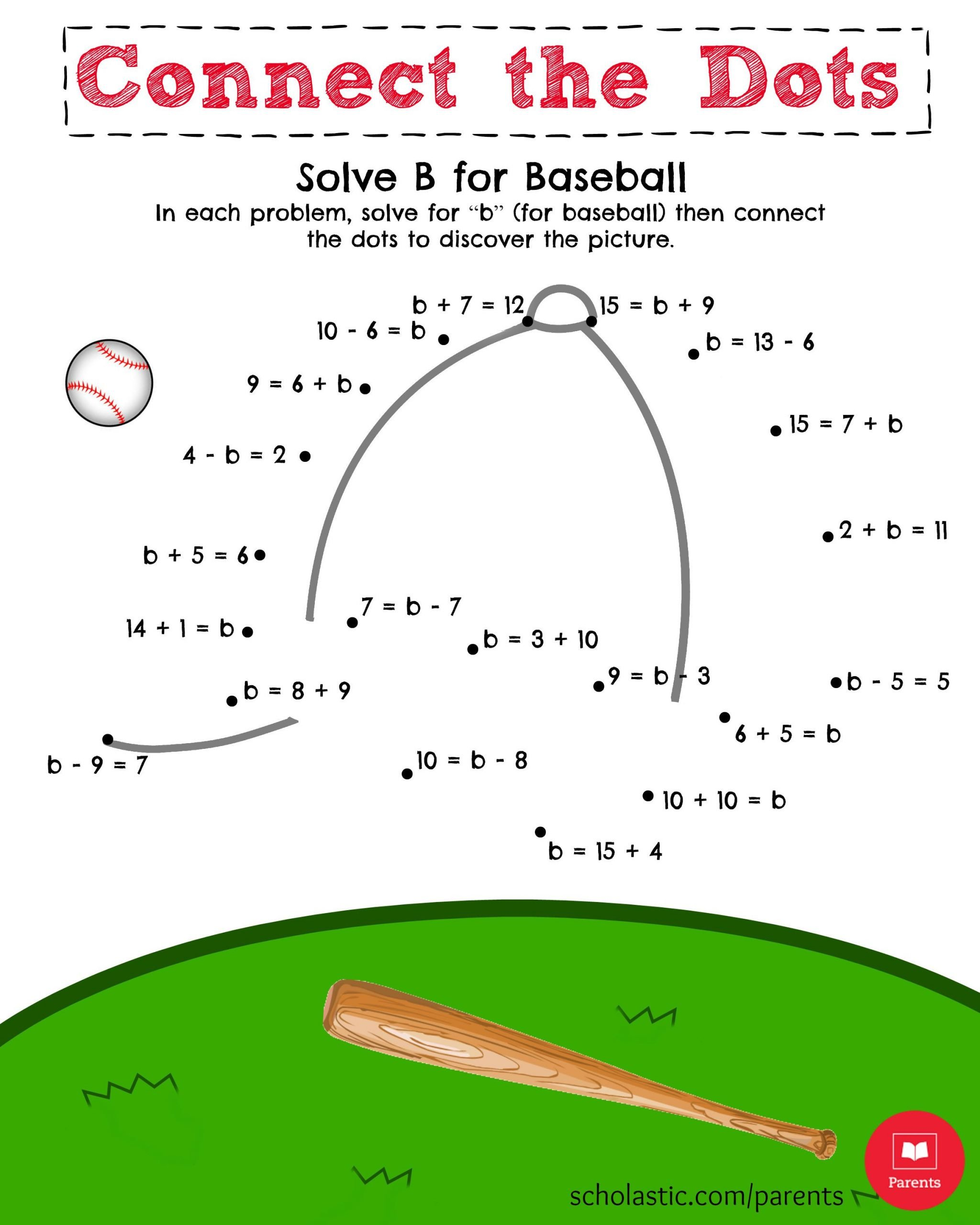 Baseball Math Worksheets solve B for Baseball Math Printable