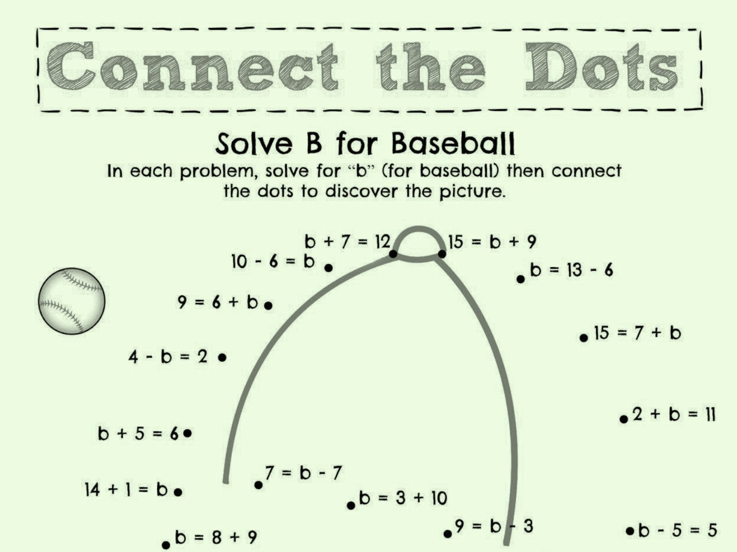 Solve B for Baseball Worksheets & Printables