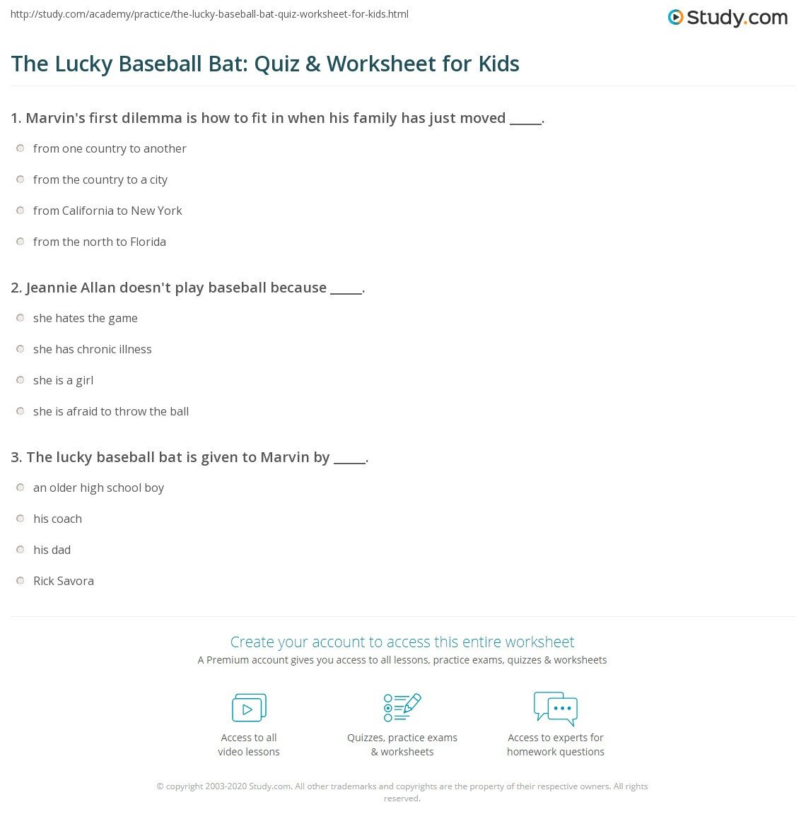 the lucky baseball bat quiz worksheet for kids