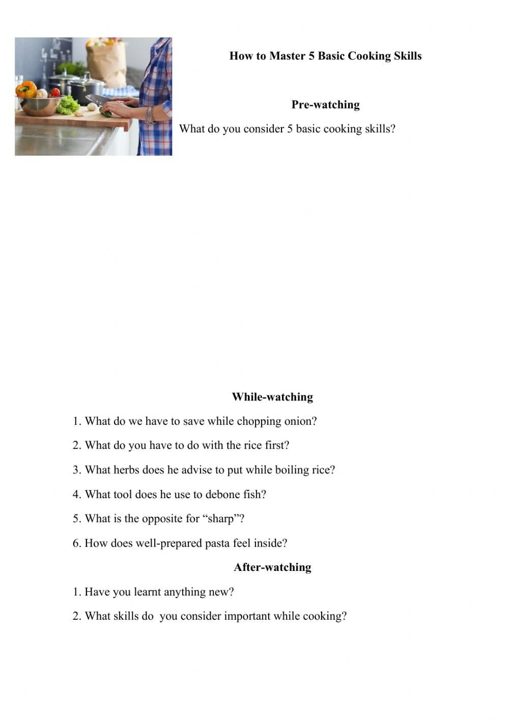 Basic Cooking Skills Worksheets Basic Cooking Skills Interactive Worksheet