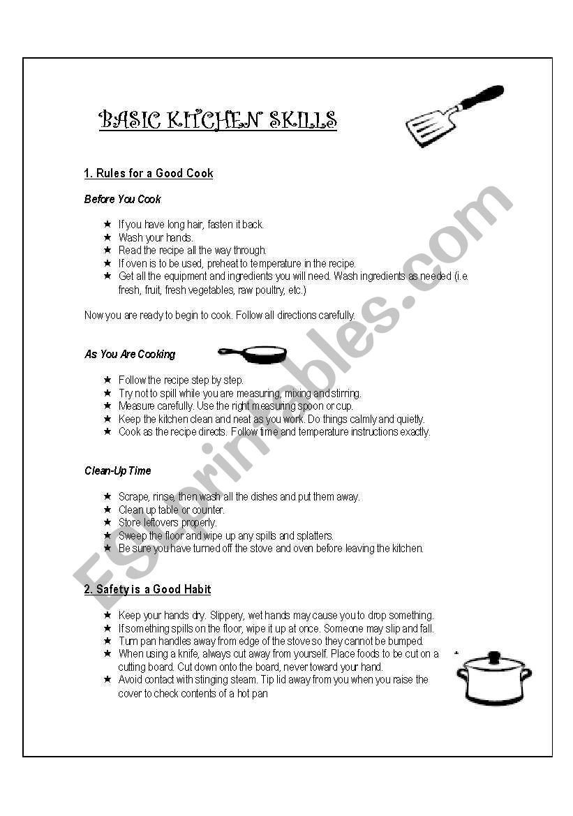 Basic Cooking Skills Worksheets English Worksheets Basic Kitchen Skills Handout
