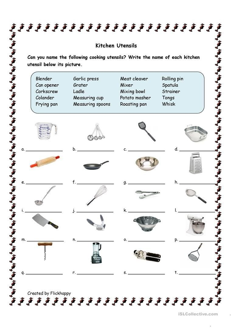 Basic Cooking Skills Worksheets Kitchen Utensils Worksheet Free Esl Printable Worksheets