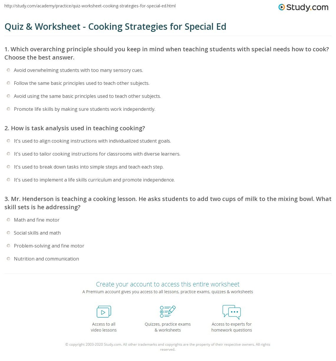 Basic Cooking Skills Worksheets Quiz & Worksheet Cooking Strategies for Special Ed