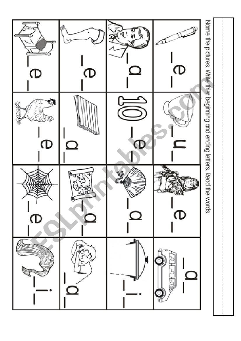 Beginning and Ending sounds Worksheet Beginning and Ending sound Esl Worksheet by Joannagrace2911