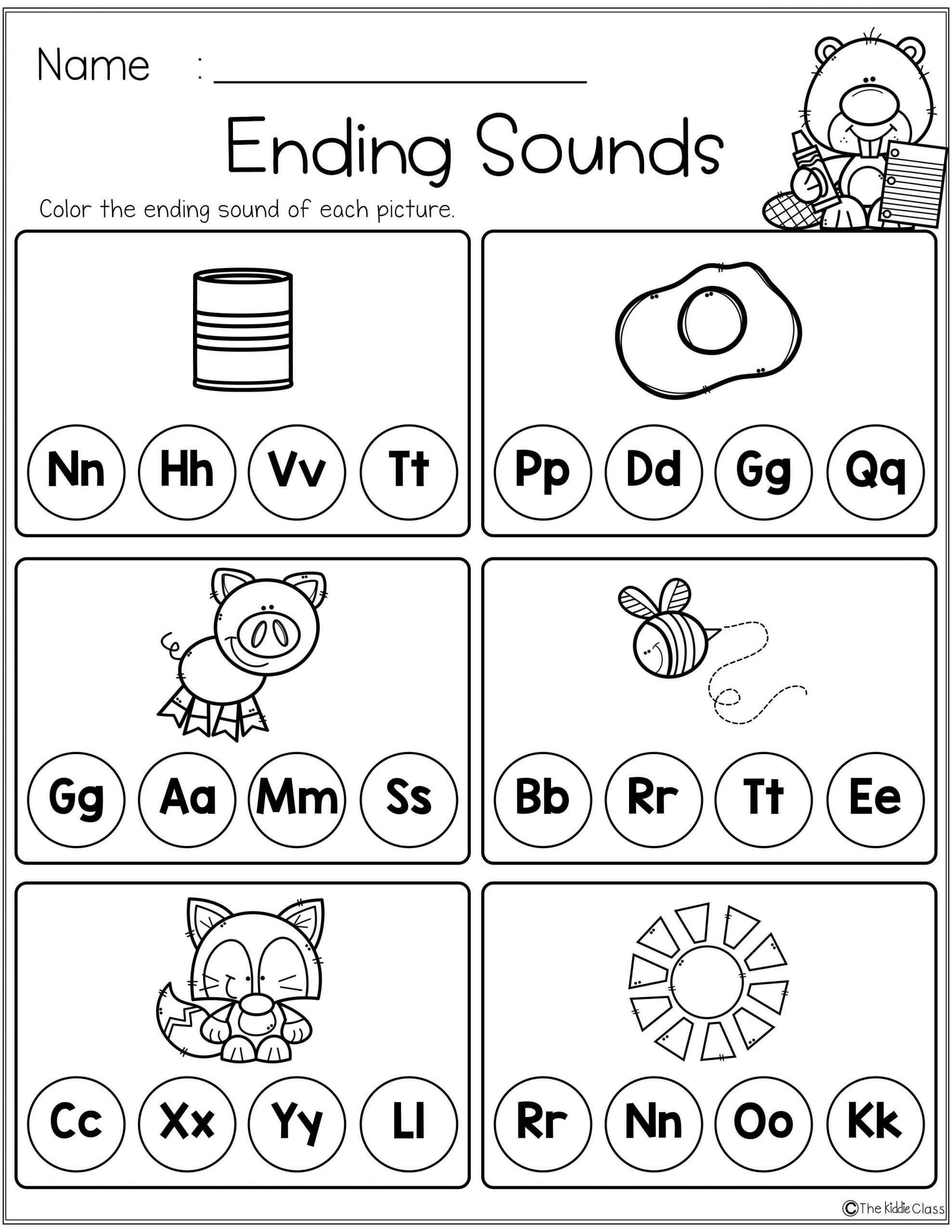 Beginning and Ending sounds Worksheet Free Beginning and Ending sounds