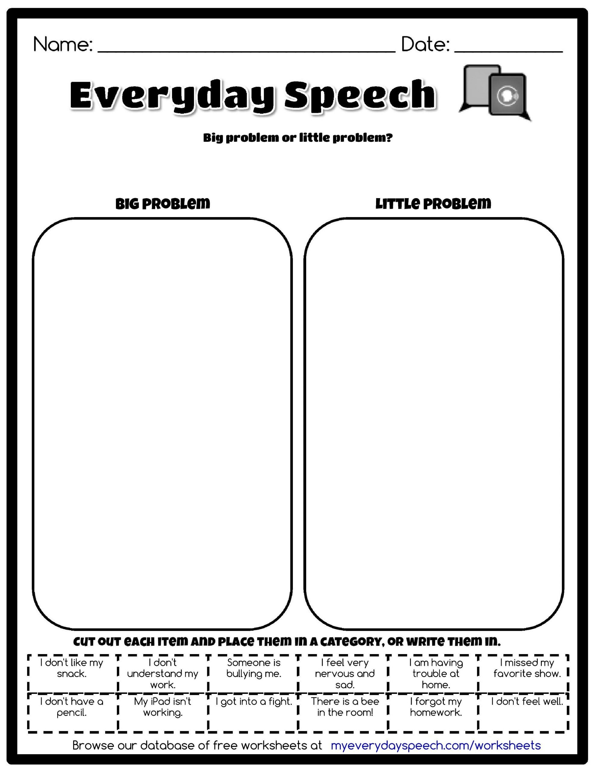 Big Vs Little Worksheets Check Out the Worksheet I Just Made Using Everyday Speech&