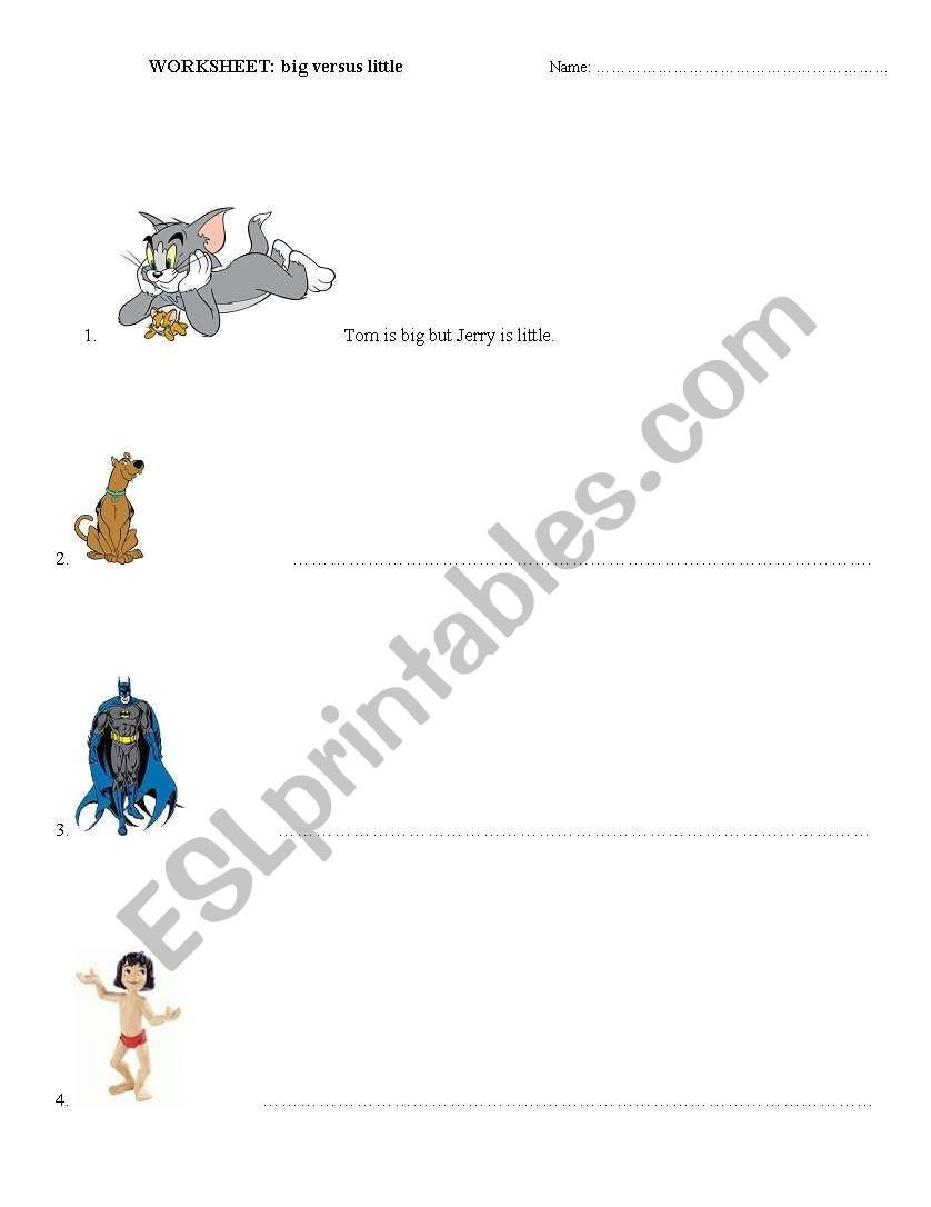 Big Vs Little Worksheets English Worksheets Big Vs Little