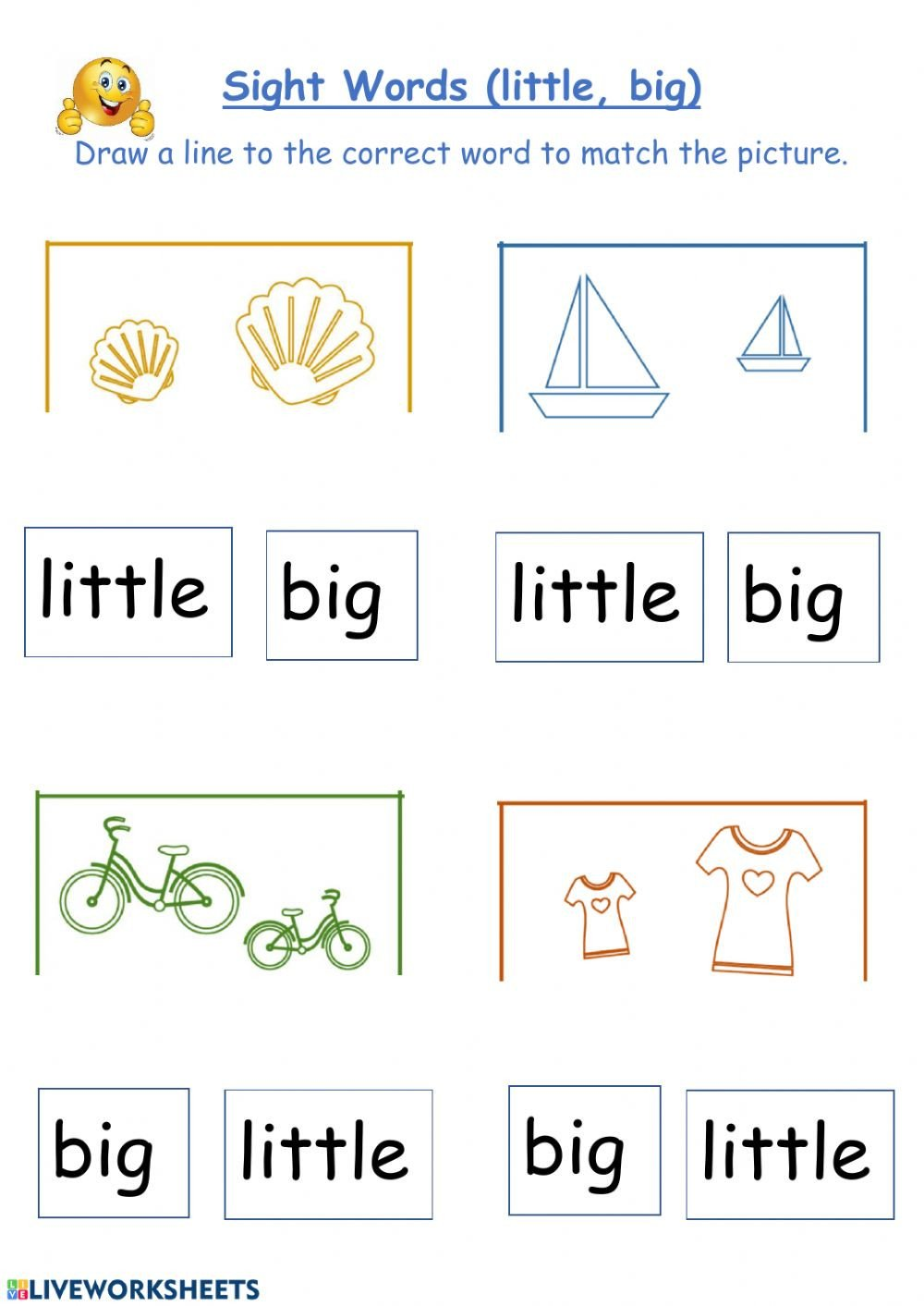 Big Vs Little Worksheets Little Big Interactive Worksheet