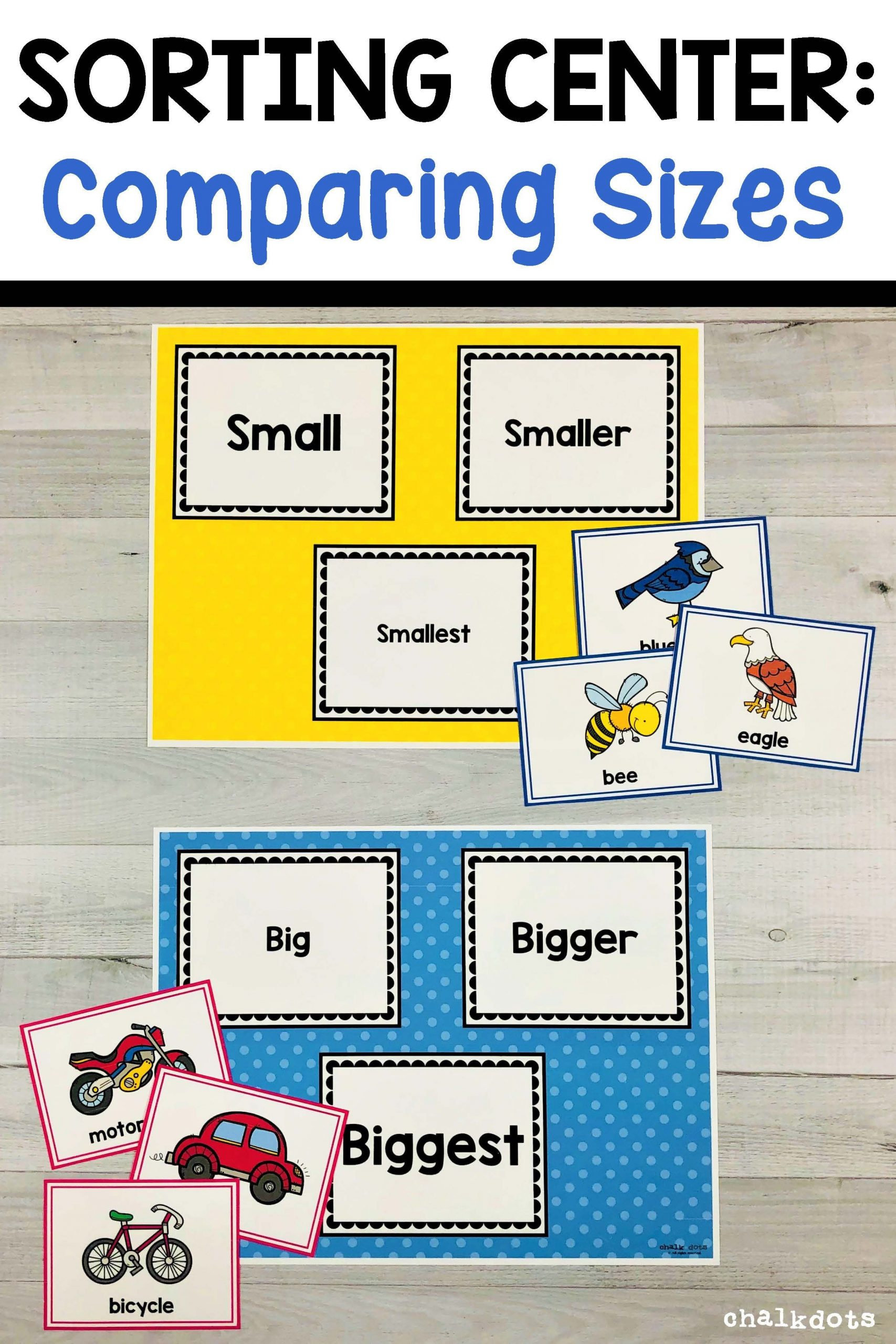 Big Vs Little Worksheets Paring Sizes sorting Activity