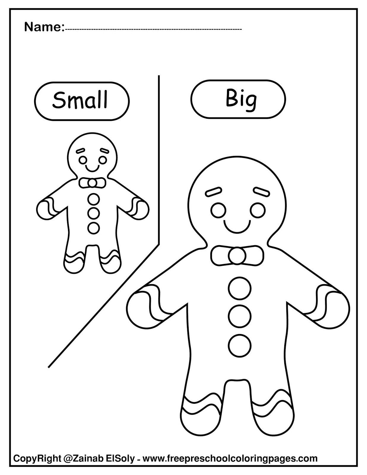 Big Vs Little Worksheets Set Gingerbread Man Opposites for Kids Big and Little