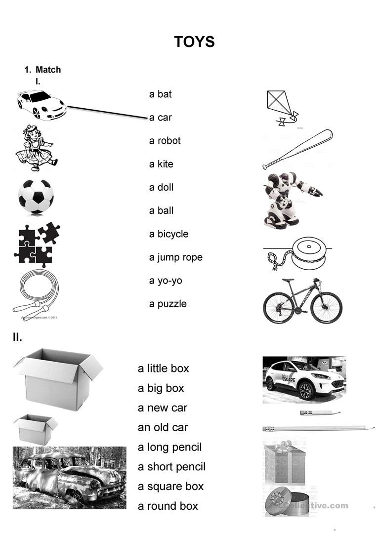 Big Vs Little Worksheets Worksheet toys English Esl Worksheets for Distance