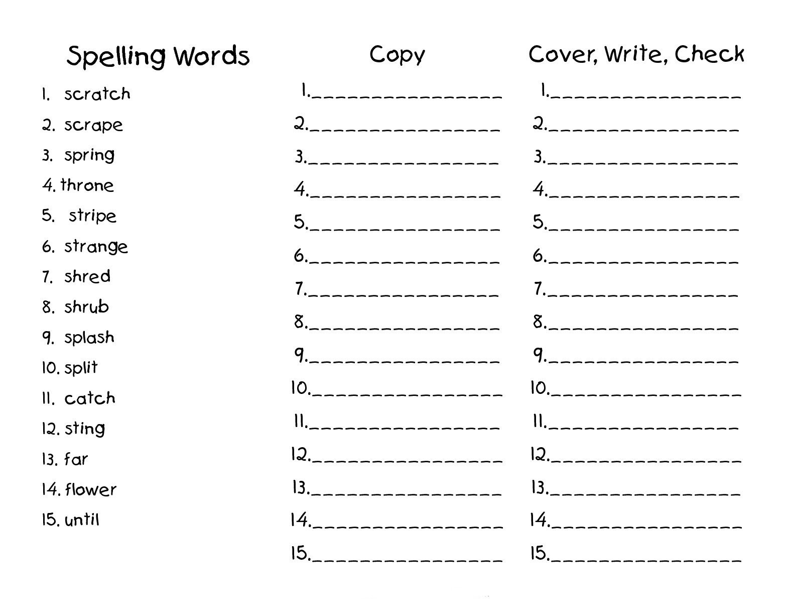 Blank Spelling Practice Worksheets 2nd Grade Spelling Worksheets Best Coloring Pages for Kids