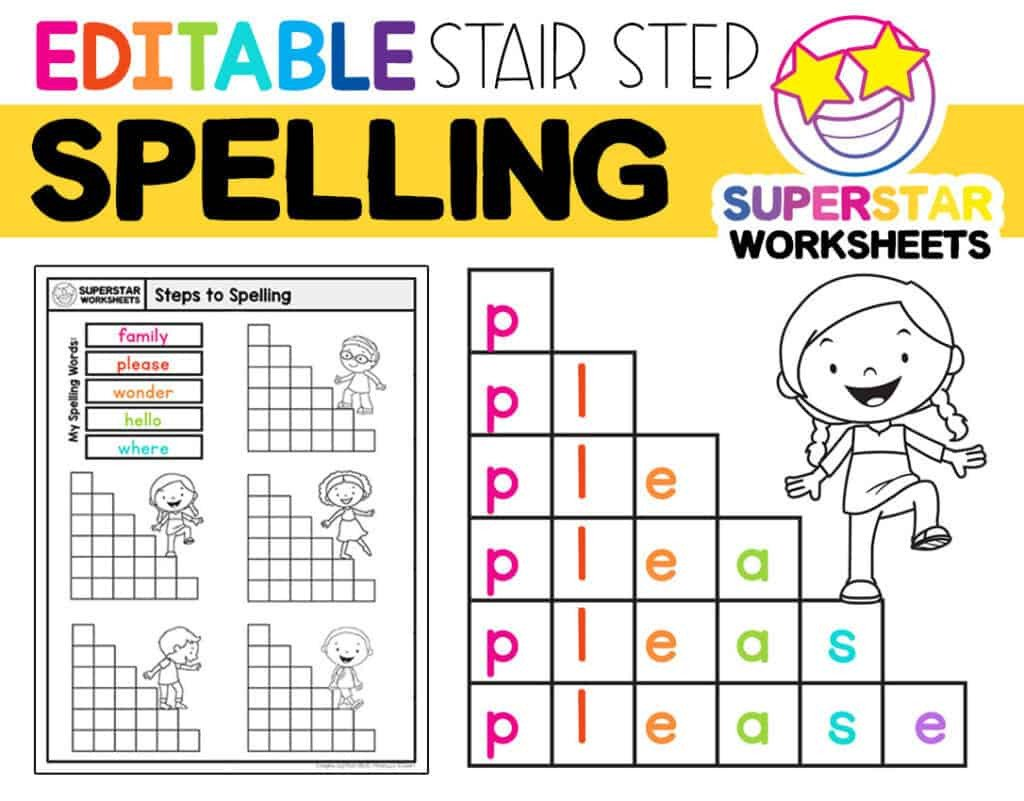 Blank Spelling Practice Worksheets Stair Step Spelling Worksheets Superstar Worksheets
