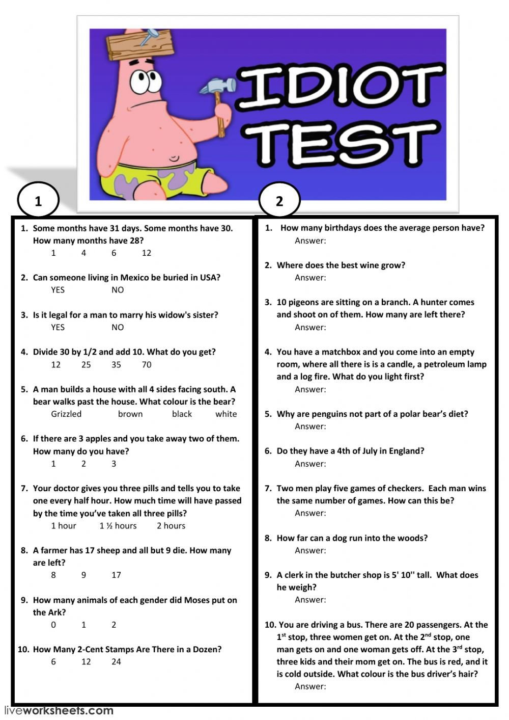 Brain Teaser Worksheets Brain Teaser Interactive Worksheet